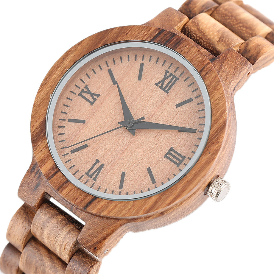 Roman Numerals Natural Wood Watch for Men & Women