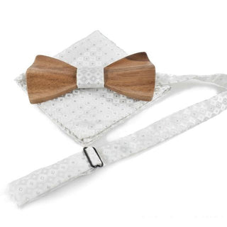 Black or White Wedding Wood Bow Tie Handkerchief Set