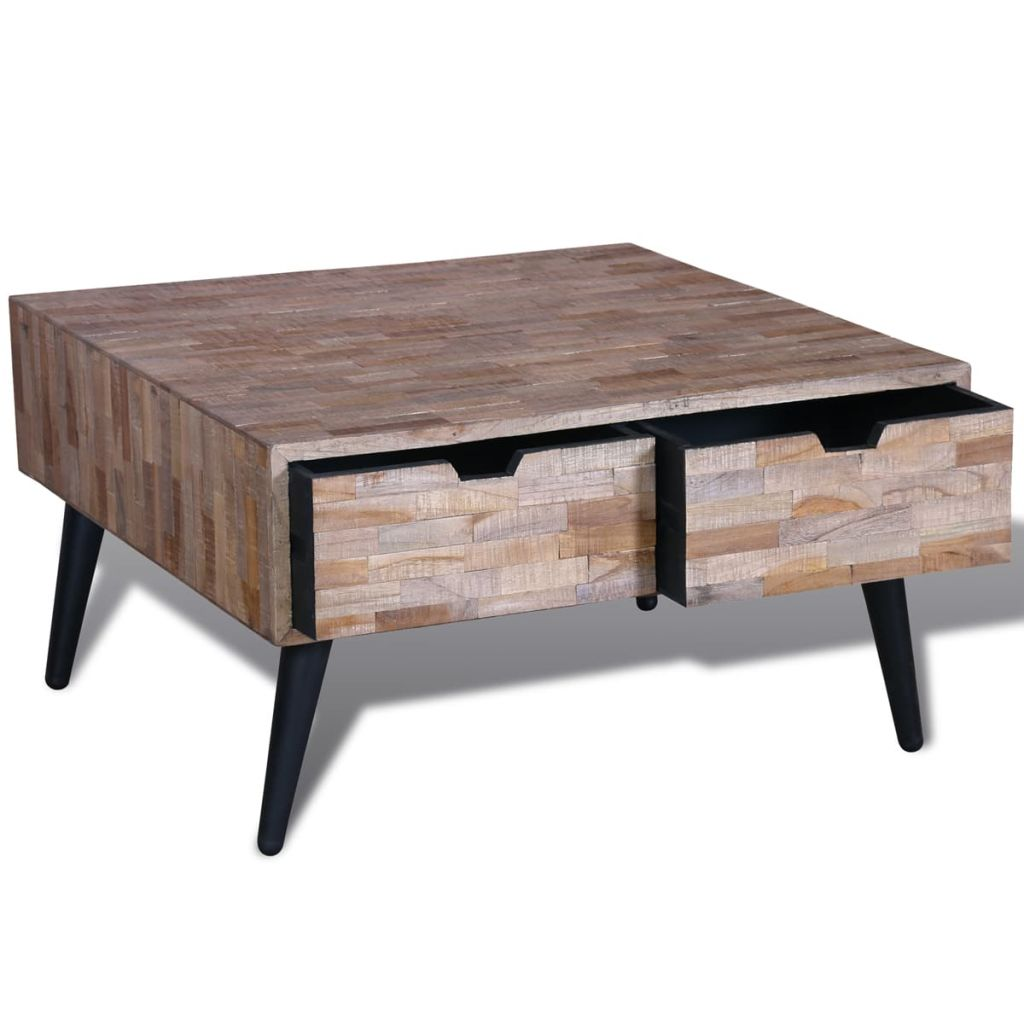Unique Reclaimed Teak Coffee Table with 4 Drawers