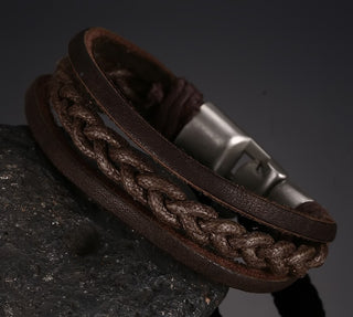Braided Leather Alloy Buckle Bracelet For Men