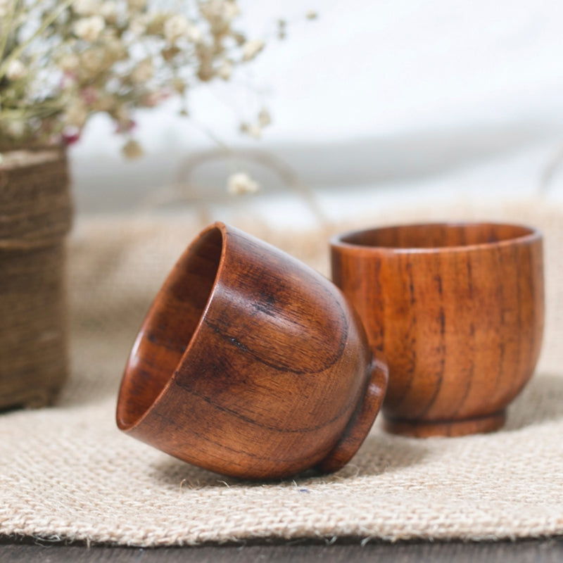 Small Traditional Handmade Natural Solid Wood Wine Cup Wooden Tea Drinking