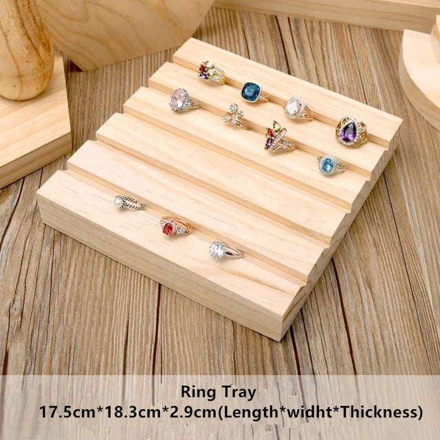 Wooden Jewelry Display Showcase - Stand Earrings, Ring, Necklace, Bracelets Display Stands