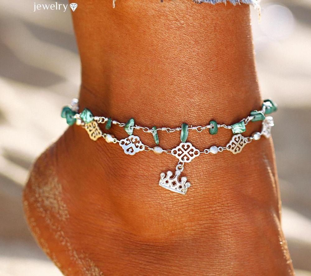 Vintage Stone Double Layer Anklets