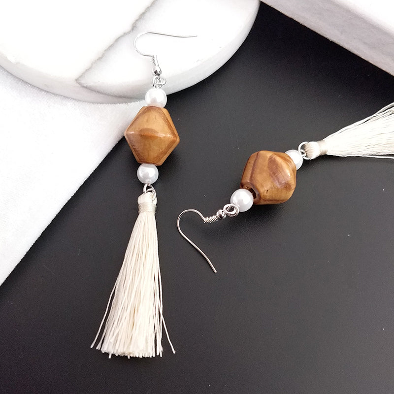 Long Wood Tassel Pearl Earrings