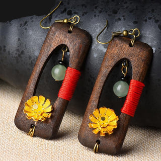 Ethnic Handmade Natural Stone Flower Wood Drop Earrings