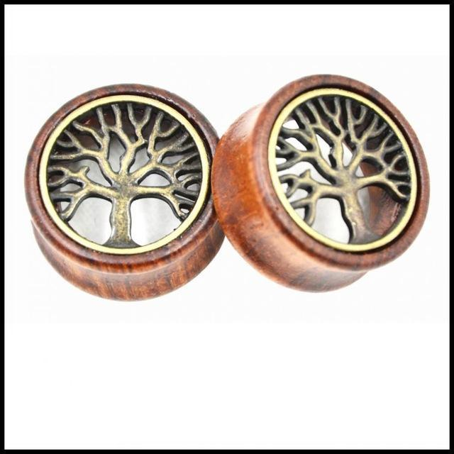 Tree of Life Design Ear Flesh Tunnel Plug Double Flared Saddle Ear Expander