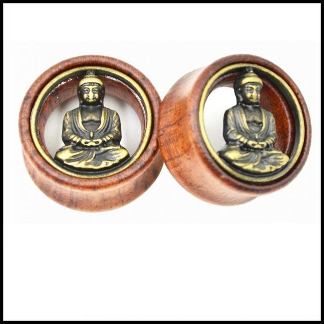 Buddha Design Ear Flesh Tunnel Plug Double Flared Saddle Ear Expander