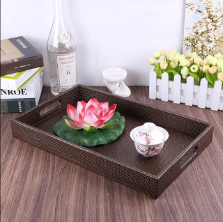 Wooden Serving Trays with Leather
