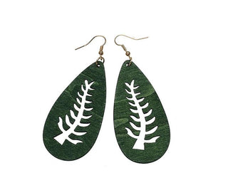 Hollow Wood Leaf Tree Earrings Jewelry Wood