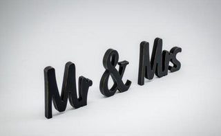 Chic Black Mr & Mrs Sign for Wedding Table Decor