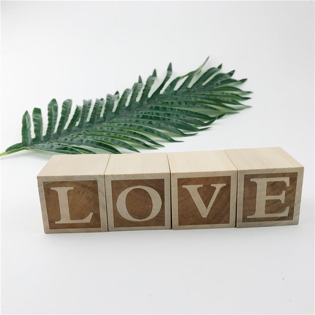 Natural Nursery Blocks LOVE 4Pcs