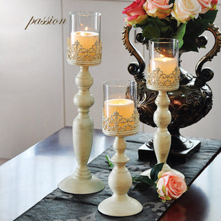 White Stand Pillar Candlestick Candelabra With Glass - 3Pcs/Lot