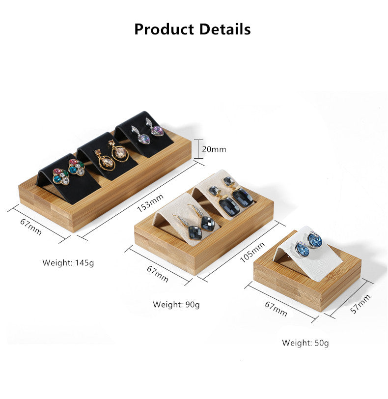 Earrings Display Stands - Bamboo Wood with Leather