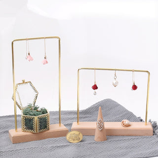 Gold Plated Solid Wood Jewelry Showcase - Earrings, Pendant, Necklace Display Frame