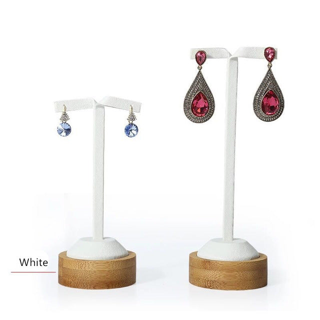 Bamboo & White Leather Earring Display Stands