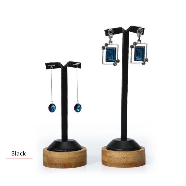 Bamboo & Black Leather Earring Display Stands