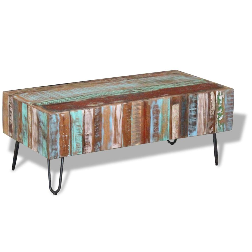 Antique-Style Coffee Table Solid Reclaimed Wood