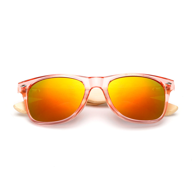 Purple or Pink Framed Mirrored Bamboo Sunglasses