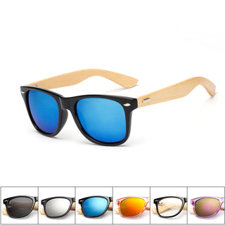 Bamboo Wooden Legs, Black Framed Sunglasses