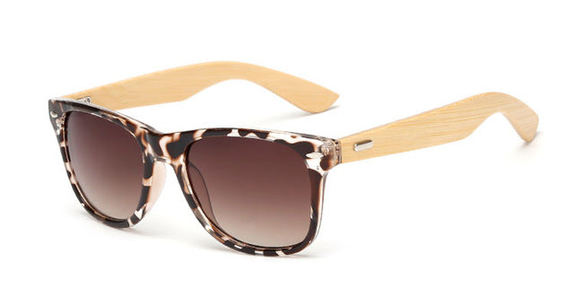 Brown Leopard Framed Bamboo Wood Sunglasses