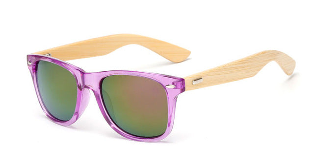 Purple Framed Mirrored Bamboo Sunglasses