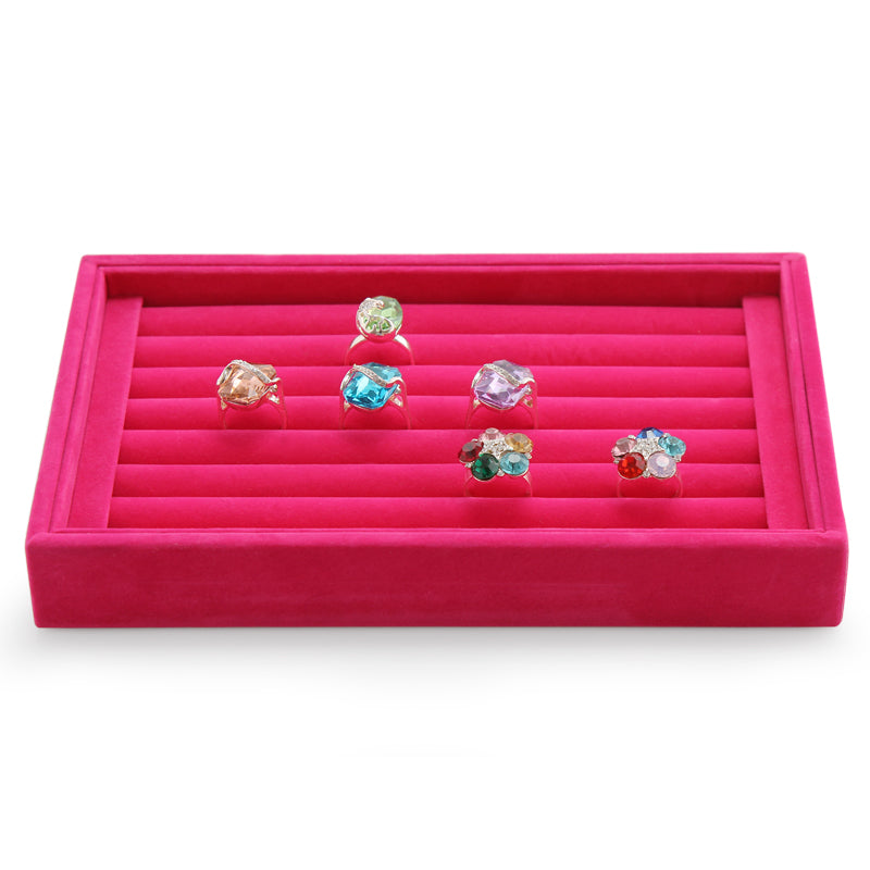 Soft Velvet Ring Display Organizer Tray