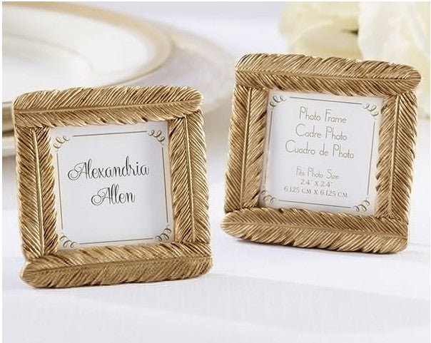 Gold Feather Frame Place Card Photo Holder - 10 pcs