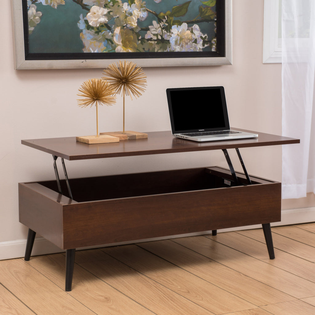 Mahogany Wood Lift Top Storage Coffee Table