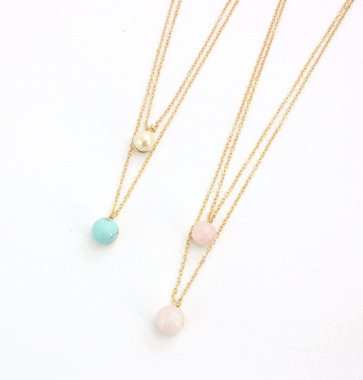 Stone Pendant Multi-Layered Double Ball Long Necklace