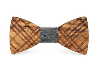 Herringbone Solid Wood Butterfly Bow Ties