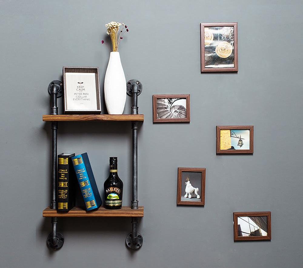 Double Tier Iron Pipe Book Shelf - Art Display Shelves