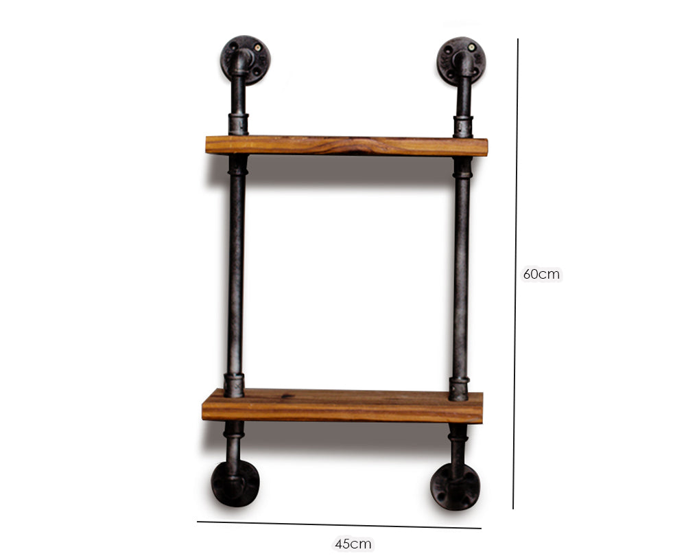 Double Tier Iron and Wood Book Shelf - Art Display Shelves