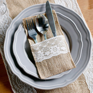 Jute Burlap Lace Tableware Pouch Cutlery Pocket