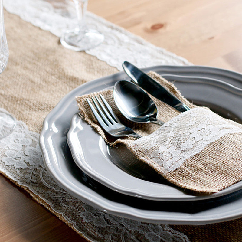 Table decor Jute Burlap Lace Tableware Pouch Cutlery Pocket