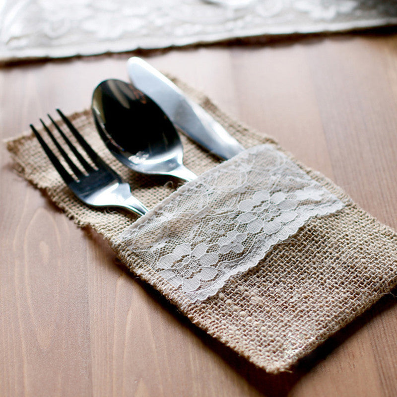 30pcs Jute Burlap Lace Tableware Pouch Cutlery Pocket