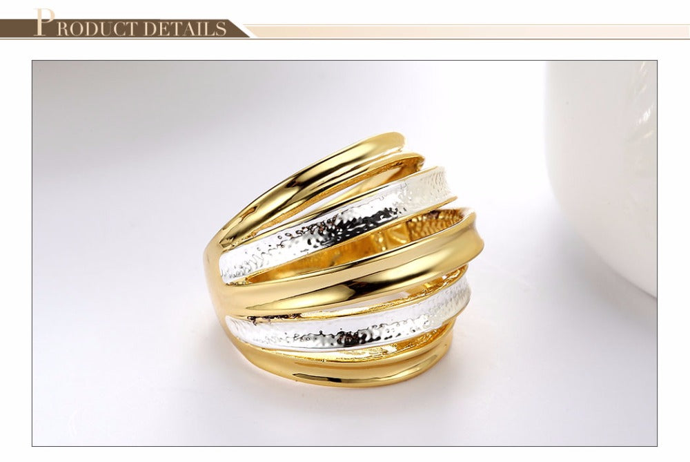 Rose Gold/Silver/Gold Multi-layered Stack Rings