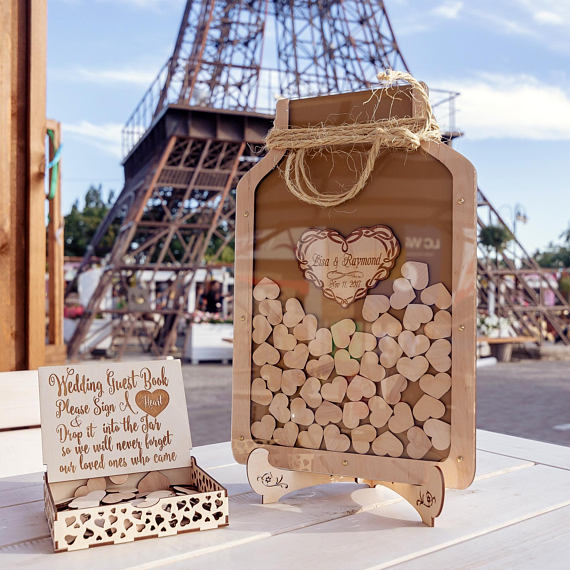Personalized Wedding Mason Jar Drop Box Guestbook