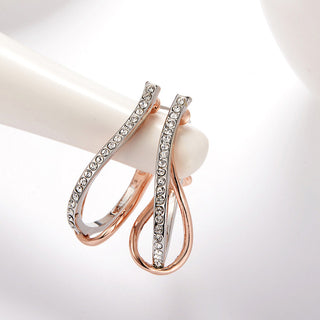 Twisted Hoop Earrings in Rose Gold or Gold and Rhinestones