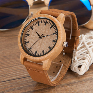Bamboo Quartz Unisex Watch With Leather Straps