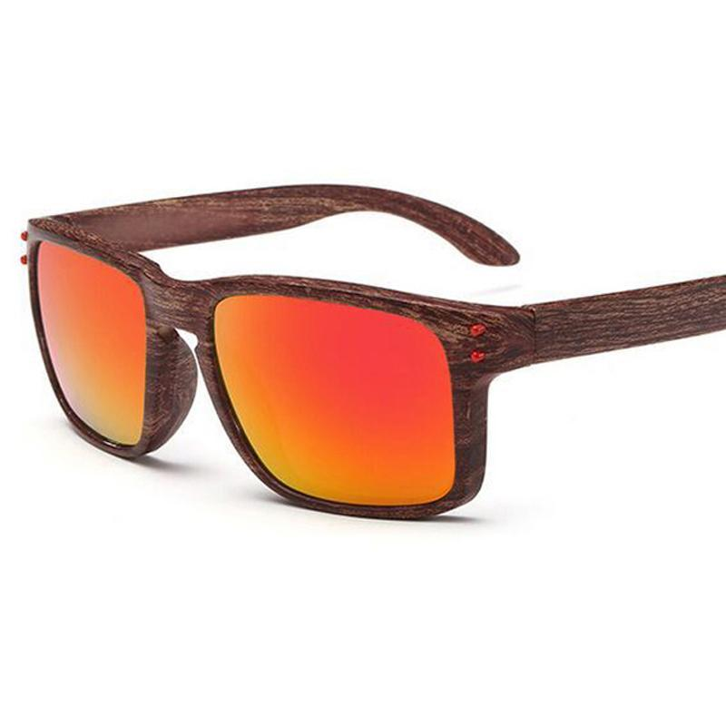 Men's Sports Brownamber Wood Frame Sunglasses Red Lense