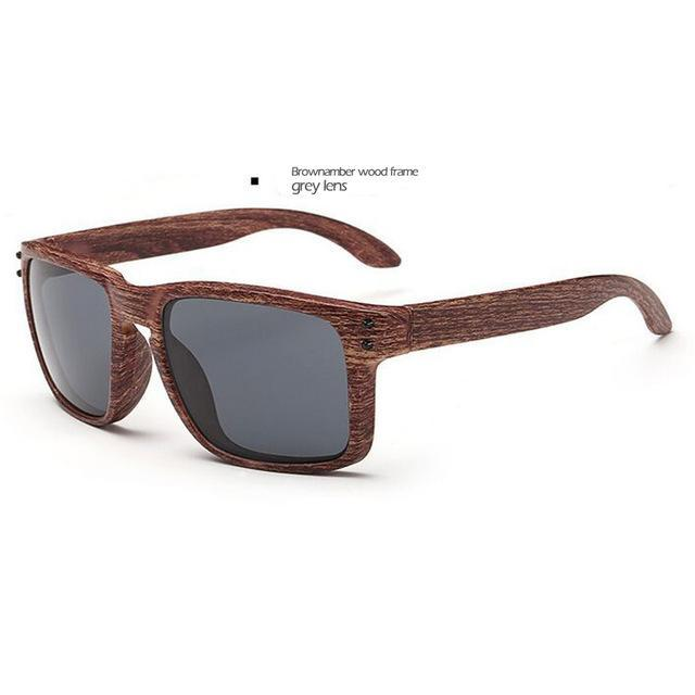 Men's Sports Brownamber Wood Frame Sunglasses Grey Lense