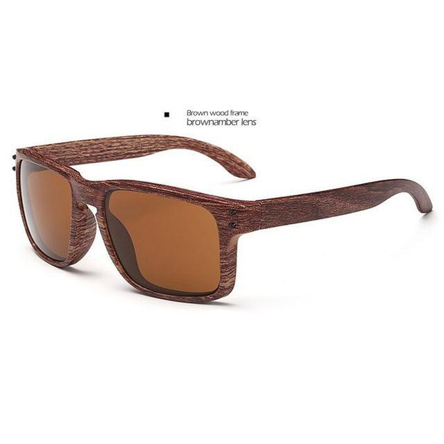 Men's Sports Brownamber Wood Frame Sunglasses Brown Lense