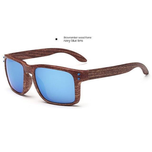 Men's Sports Brownamber Wood Frame Sunglasses Blue Lense