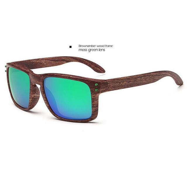 Men's Sports Brownamber Wood Frame Sunglasses Green Lense