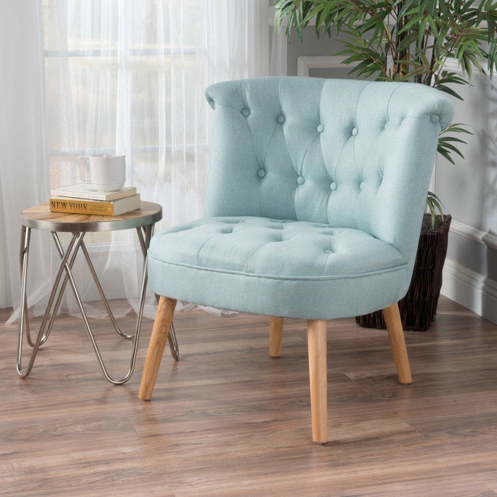 Light blue Modern Plush Tufted Accent Chair