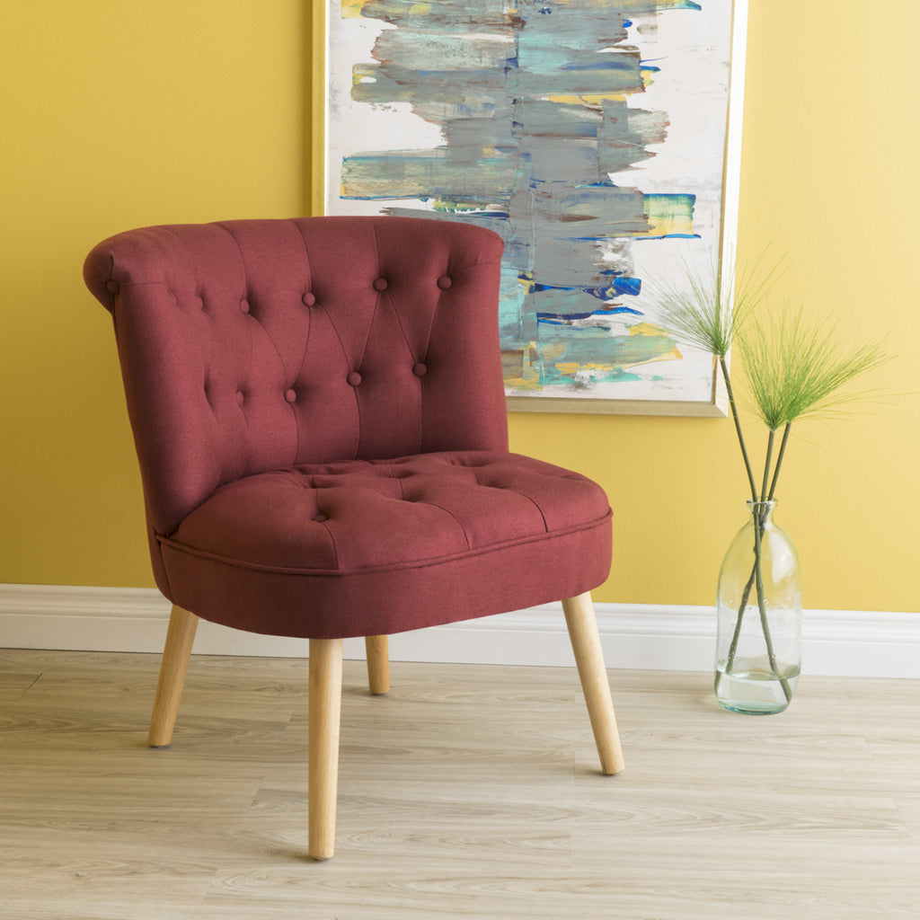 Red Modern Plush Tufted Accent Chair