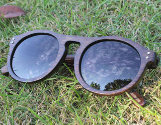Round Retro Polarized Wood Sunglasses