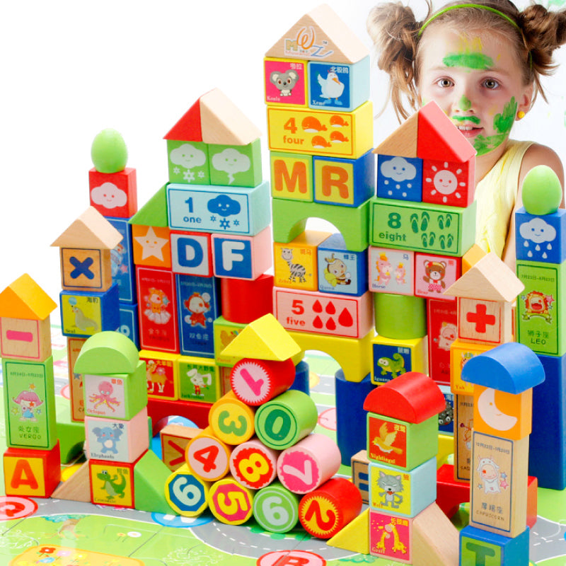 100Pcs/Set Colorful Wooden Building Blocks - ABC, Math, Weather and Building