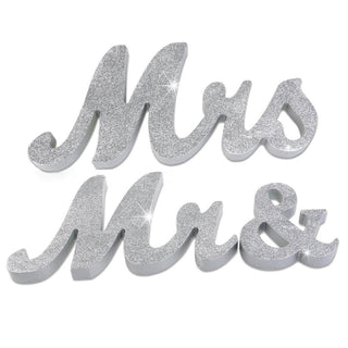"Large 6"" Mr & Mrs Wedding Sign Table Decor"