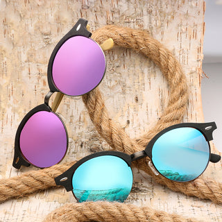 Yellow Semi-Rimless Round Acetate Polarized Sunglasses